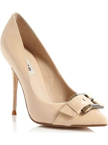 Achieve Pointed Court Shoes, Blonde - predominant colour: nude; occasions: evening, work, occasion; material: faux leather; heel height: high; embellishment: buckles; heel: stiletto; toe: pointed toe; style: courts; finish: patent; pattern: plain
