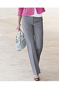 Straight Leg Trousers - length: standard; pattern: plain; pocket detail: pockets at the sides; waist: mid/regular rise; predominant colour: light grey; occasions: casual, evening, work; fibres: polyester/polyamide - mix; texture group: cotton feel fabrics; fit: straight leg; pattern type: fabric; style: standard