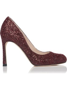 Dottie Platform Sequin Leather Shoe Red Bordeaux - predominant colour: burgundy; occasions: evening, occasion; material: leather; heel height: high; embellishment: glitter; heel: stiletto; toe: round toe; style: courts; trends: metallics; finish: metallic; pattern: plain