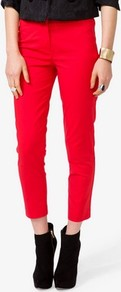 Paneled Dress Pants - pattern: plain; waist: mid/regular rise; predominant colour: true red; occasions: casual, evening; length: calf length; fibres: cotton - stretch; texture group: cotton feel fabrics; fit: slim leg; pattern type: fabric; style: standard