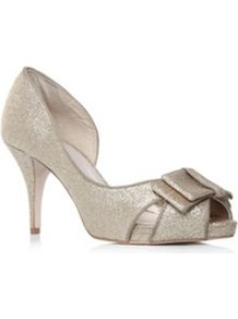 Haversham - predominant colour: silver; occasions: evening, occasion; material: fabric; heel height: high; embellishment: glitter; heel: stiletto; toe: open toe/peeptoe; style: courts; finish: metallic; pattern: plain