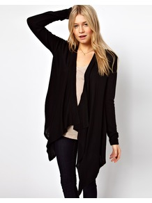 Waterfall Cardigan - pattern: plain; neckline: waterfall neck; length: below the bottom; style: open front; predominant colour: black; occasions: casual; fibres: acrylic - 100%; fit: loose; sleeve length: long sleeve; sleeve style: standard; texture group: knits/crochet; pattern type: knitted - fine stitch