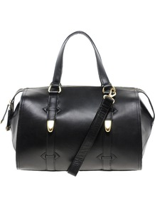 Black Hard Leather Bowler Bag - predominant colour: black; occasions: casual, evening, work; type of pattern: standard; style: bowling; length: handle; size: standard; material: leather; pattern: plain; finish: plain