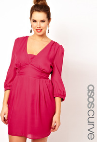 Curve Tulip Dress With Ruched Band - length: mid thigh; neckline: low v-neck; fit: fitted at waist; pattern: plain; style: tulip; sleeve style: balloon; bust detail: ruching/gathering/draping/layers/pintuck pleats at bust; predominant colour: pink; occasions: casual, evening, occasion; fibres: polyester/polyamide - 100%; hip detail: soft pleats at hip/draping at hip/flared at hip; back detail: keyhole/peephole detail at back; sleeve length: 3/4 length; texture group: sheer fabrics/chiffon/organza etc.; pattern type: fabric