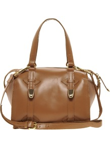 Tan Mini Hard Leather Bowler Bag - predominant colour: tan; occasions: casual, evening, work; type of pattern: standard; style: bowling; length: handle; size: standard; material: leather; pattern: plain; finish: plain