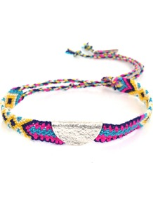 Individual Silver Taco Bracelet - occasions: casual, holiday; predominant colour: multicoloured; style: friendship bracelet; size: small; material: fabric; finish: plain; embellishment: chain/metal