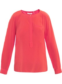 Henley Silk Blouse - neckline: round neck; pattern: plain; style: blouse; predominant colour: coral; occasions: casual; length: standard; fibres: silk - 100%; fit: straight cut; sleeve length: long sleeve; sleeve style: standard; texture group: crepes; pattern type: fabric