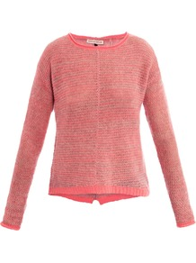 Cashmere Marl Sweater - neckline: round neck; pattern: plain; length: below the bottom; style: standard; predominant colour: pink; occasions: casual; fit: slim fit; fibres: cashmere - 100%; sleeve length: long sleeve; sleeve style: standard; texture group: knits/crochet; pattern type: knitted - other
