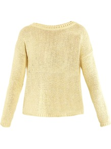 Alamaro Sweater - pattern: plain; style: standard; predominant colour: primrose yellow; occasions: casual; length: standard; fibres: cotton - 100%; fit: loose; neckline: crew; sleeve length: long sleeve; sleeve style: standard; texture group: knits/crochet; pattern type: knitted - other