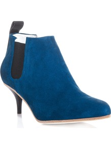 Suede Palma Ankle Boots - predominant colour: royal blue; secondary colour: black; occasions: casual, evening, work; material: suede; heel height: mid; embellishment: elasticated; heel: kitten; toe: pointed toe; boot length: shoe boot; style: standard; finish: plain; pattern: plain