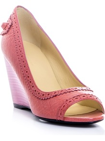 Peep Toe Wedges - predominant colour: pink; occasions: casual, evening, work; material: leather; heel height: mid; embellishment: studs; heel: wedge; toe: open toe/peeptoe; style: courts; finish: plain; pattern: plain