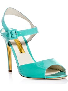 Jacoba Patent Leather Sandals - predominant colour: turquoise; occasions: evening, occasion, holiday; material: leather; heel height: high; ankle detail: ankle strap; heel: stiletto; toe: open toe/peeptoe; style: standard; finish: patent; pattern: plain