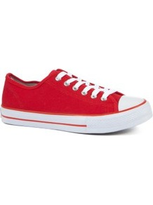 Red Lace Up Trainers - secondary colour: white; predominant colour: true red; occasions: casual; material: fabric; heel height: flat; toe: round toe; style: trainers; finish: plain; pattern: colourblock