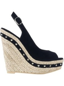Black Stud Espadrille Wedge Sandals - predominant colour: black; occasions: casual, evening, holiday; material: fabric; embellishment: studs; heel: wedge; toe: open toe/peeptoe; style: strappy; finish: plain; pattern: plain; heel height: very high