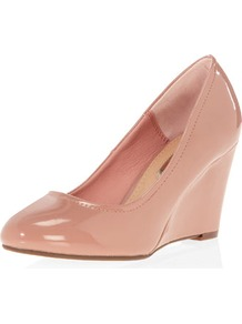 Pink Mid Wedge Courts - predominant colour: nude; occasions: evening, work, occasion; material: faux leather; heel height: high; heel: wedge; toe: round toe; style: courts; finish: patent; pattern: plain