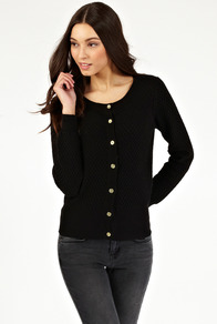 Textured Cardigan - neckline: round neck; pattern: plain; predominant colour: black; occasions: casual, work; length: standard; style: standard; fibres: cotton - 100%; fit: standard fit; sleeve length: long sleeve; sleeve style: standard; texture group: knits/crochet; pattern type: knitted - other