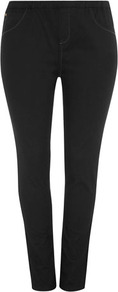 Black Jeggings - pattern: plain; style: leggings; waist detail: elasticated waist; pocket detail: traditional 5 pocket; waist: mid/regular rise; predominant colour: black; occasions: casual; length: ankle length; fibres: cotton - stretch; texture group: denim; fit: skinny/tight leg; pattern type: fabric