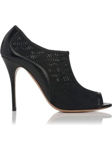 Cancun Leather Peep Toe Shoe Boot Black - predominant colour: black; occasions: evening, work, occasion; material: leather; heel: stiletto; toe: open toe/peeptoe; boot length: shoe boot; style: standard; finish: plain; pattern: plain; heel height: very high