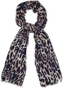 Calinda Leopard Print Scarf Blue Print Navy - predominant colour: navy; secondary colour: stone; occasions: casual, evening, work; type of pattern: heavy; style: regular; size: standard; material: fabric; pattern: animal print