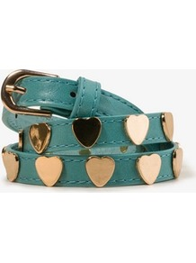 Heart Stud Waist Belt - predominant colour: teal; secondary colour: gold; occasions: casual, evening; style: classic; size: skinny; worn on: waist; material: faux leather; pattern: plain; finish: plain; embellishment: chain/metal