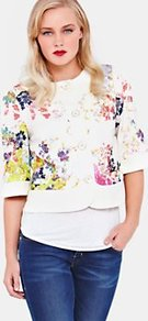 Zohe Summer Bloom Swing Jacket, Cream - collar: round collar/collarless; length: cropped; style: boxy; predominant colour: white; occasions: casual, evening, work; fit: straight cut (boxy); fibres: cotton - mix; sleeve length: half sleeve; sleeve style: standard; trends: high impact florals; collar break: high; pattern type: fabric; pattern size: big & light; pattern: florals; texture group: other - stretchy