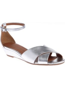 Peace Metallic Leather Sandals - predominant colour: silver; occasions: casual, evening, holiday; material: leather; heel height: mid; ankle detail: ankle strap; heel: wedge; toe: open toe/peeptoe; style: strappy; trends: metallics; finish: metallic; pattern: plain