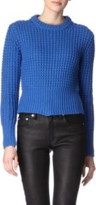 Lia Knitted Jumper - pattern: plain; length: cropped; style: standard; predominant colour: royal blue; occasions: casual, work; fibres: cotton - 100%; fit: standard fit; neckline: crew; sleeve length: long sleeve; sleeve style: standard; texture group: knits/crochet; pattern type: knitted - big stitch