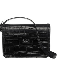 The Frankfurt Mock Croc Leather Across Body Handbag, Black - predominant colour: black; occasions: casual, evening, work; type of pattern: light; style: shoulder; length: shoulder (tucks under arm); size: small; material: leather; pattern: plain; finish: plain