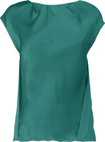 Romia Silk Cap Sleeve Top Green Emerald - neckline: round neck; sleeve style: capped; pattern: plain; bust detail: ruching/gathering/draping/layers/pintuck pleats at bust; predominant colour: emerald green; occasions: casual, evening, occasion; length: standard; style: top; fibres: silk - 100%; fit: straight cut; sleeve length: sleeveless; texture group: silky - light; pattern type: fabric; pattern size: standard