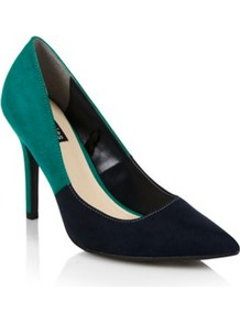 Navy Eden Two Tone High Heel Court Shoes - predominant colour: navy; secondary colour: emerald green; occasions: evening, work, occasion; material: suede; heel height: high; heel: stiletto; toe: pointed toe; style: courts; finish: plain; pattern: colourblock