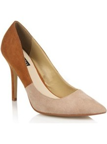 Beige Eden Two Tone High Heel Court Shoes - predominant colour: ivory; secondary colour: tan; occasions: evening, work, occasion; material: faux leather; heel height: high; heel: stiletto; toe: pointed toe; style: courts; finish: plain; pattern: colourblock