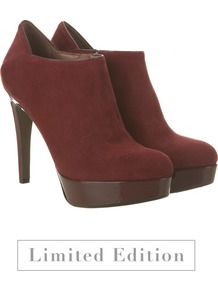 Wine Suede & Patent Shoe Boots - predominant colour: burgundy; occasions: evening, work, occasion; material: suede; heel: platform; toe: round toe; boot length: shoe boot; style: standard; finish: plain; pattern: plain; heel height: very high