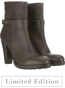 Khaki Stud Strap Ankle Boots - predominant colour: chocolate brown; secondary colour: gold; occasions: casual, evening, work; material: leather; heel height: mid; embellishment: studs; heel: platform; toe: round toe; boot length: ankle boot; style: standard; finish: plain; pattern: plain