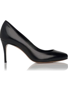 Alice Leather Point Toe Court Shoe Black - predominant colour: black; occasions: evening, work; material: leather; heel height: high; heel: stiletto; toe: round toe; style: courts; finish: plain; pattern: plain