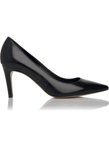 Florina Leather Point Toe Court Shoe Black - predominant colour: black; occasions: evening, work, occasion; material: leather; heel height: mid; heel: stiletto; toe: pointed toe; style: courts; finish: plain; pattern: plain