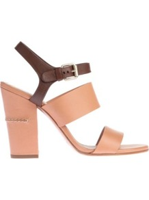 Tracy Leather Sandals - secondary colour: chocolate brown; predominant colour: camel; occasions: casual, evening, work, occasion, holiday; material: leather; heel height: high; embellishment: buckles; ankle detail: ankle strap; heel: block; toe: open toe/peeptoe; style: strappy; finish: plain; pattern: colourblock