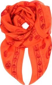 Silk Skull Scarf - secondary colour: true red; predominant colour: bright orange; occasions: casual, evening, work, holiday; type of pattern: small; style: square; size: standard; material: silk; trends: fluorescent; pattern: patterned/print