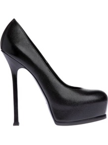 Tribute Textured Leather Courts - predominant colour: black; occasions: casual, evening, work, occasion; material: leather; heel: platform; toe: round toe; style: courts; finish: plain; pattern: plain; heel height: very high