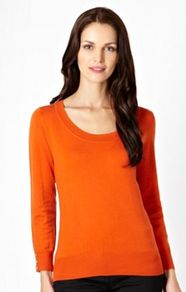 Dark Orange Scoop Neck Top - pattern: plain; predominant colour: bright orange; occasions: casual, work; length: standard; style: top; neckline: scoop; fibres: acrylic - mix; fit: body skimming; sleeve length: long sleeve; sleeve style: standard; texture group: knits/crochet; pattern type: knitted - fine stitch