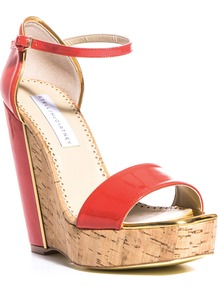 Laura Wedges - predominant colour: coral; secondary colour: camel; occasions: casual, evening, occasion, holiday; material: faux leather; ankle detail: ankle strap; heel: wedge; toe: open toe/peeptoe; style: standard; finish: patent; pattern: colourblock; heel height: very high