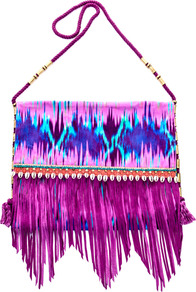 Snake Faze Embellished Shoulder Bag - secondary colour: turquoise; occasions: casual, holiday; predominant colour: multicoloured; type of pattern: standard; style: shoulder; length: across body/long; size: standard; material: fabric; embellishment: fringing; pattern: tie dye; trends: statement prints; finish: plain
