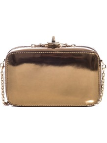 Sapone Clutch - predominant colour: bronze; occasions: evening, occasion, holiday; type of pattern: standard; style: clutch; length: hand carry; size: mini; material: leather; embellishment: zips; pattern: plain; trends: metallics; finish: metallic