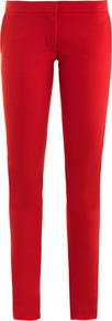 Ivy Iconic Trousers - pattern: plain; waist: low rise; predominant colour: true red; occasions: casual, evening, work, occasion; length: ankle length; fibres: cotton - stretch; texture group: cotton feel fabrics; fit: skinny/tight leg; pattern type: fabric; style: standard