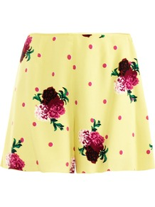 Floral Dot Print Shorts - style: shorts; waist: high rise; length: mid thigh shorts; secondary colour: pink; predominant colour: primrose yellow; occasions: casual, evening, holiday; fit: straight leg; pattern type: fabric; pattern size: small & light; pattern: florals; texture group: other - light to midweight; fibres: viscose/rayon - mix
