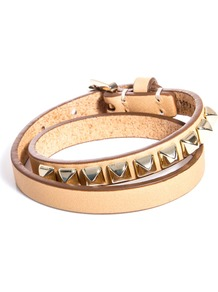 Eliza Double Bracelet - predominant colour: nude; secondary colour: gold; occasions: casual, evening, work, holiday; style: buckle; size: standard; material: leather; finish: plain; embellishment: studs
