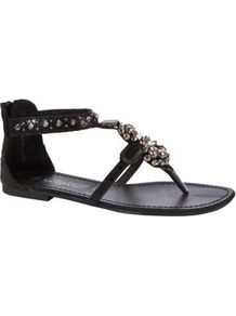 Black Spike Stud Embellished Sandals - secondary colour: silver; predominant colour: black; occasions: casual, holiday; material: faux leather; heel height: flat; embellishment: crystals; ankle detail: ankle strap; heel: standard; toe: toe thongs; style: flip flops / toe post; finish: plain; pattern: plain