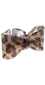 Leopard Print Oversize Bow Ring - secondary colour: chocolate brown; predominant colour: camel; occasions: casual, evening, holiday; style: cocktail; size: large/oversized; material: plastic/rubber; finish: plain; embellishment: bow