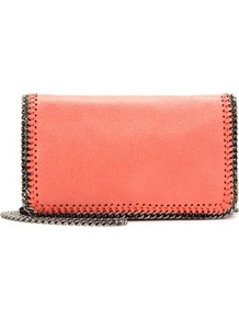 Falabella Shaggy Deer Mini Shoulder Bag - predominant colour: coral; occasions: casual, evening, occasion, holiday; type of pattern: standard; style: clutch; length: shoulder (tucks under arm); size: small; material: faux leather; pattern: plain; trends: fluorescent; finish: plain; embellishment: chain/metal