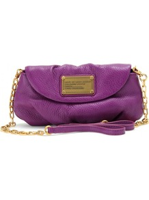 Karlie Leather Shoulder Bag - predominant colour: purple; secondary colour: gold; occasions: casual, evening, holiday; style: shoulder; length: across body/long; size: standard; material: leather; pattern: plain; finish: plain; embellishment: chain/metal