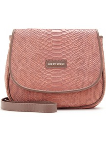 Snake Print Shoulder Bag - predominant colour: pink; occasions: casual, work; type of pattern: light; style: shoulder; length: across body/long; size: standard; material: leather; pattern: animal print; finish: plain